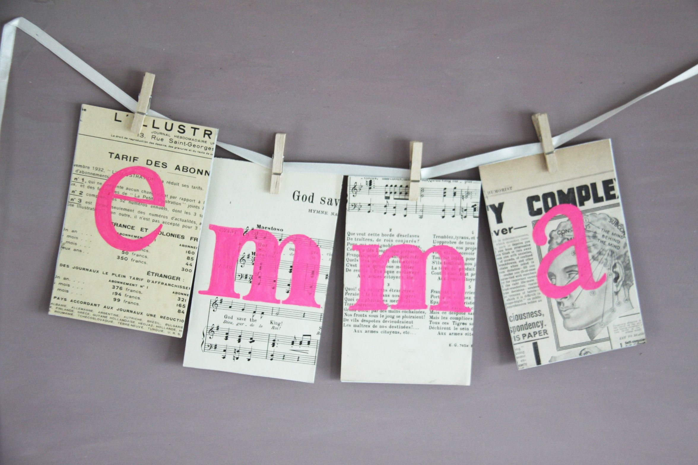 Handmade banner personalized with kid's name and vintage magazine. Made to order.