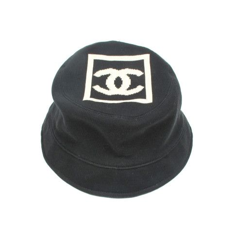 CHANEL BUCKET HAT - CC LOGO BLACK   WHITE COTTON  53b7db30d