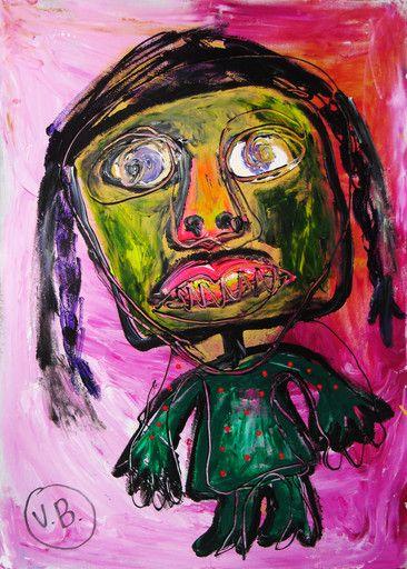 """""""El que vi en la bolsa de patatas"""" de Victoria Barranco @ VirtualGallery.com - Pintura acrílica en cartón de 50x70 cm (19.7x27.6 in). Arte marginal. Figura de mujer sobre fondo en tonos rosa. (2015)"""