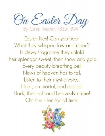 Easter Memory Poem. Link has printable resources for a ...