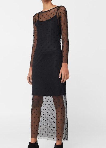 φόρεμα τούλινο πουά Mango Maxi Dress Womens Dresses Tulle Dress