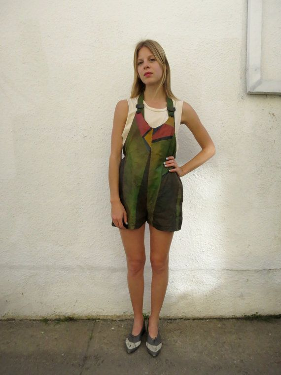 Leather Overalls Patchwork vintage 80s  sz. S/M by fairseason, $148.00  Check these out @Bobby Bennett Abbott
