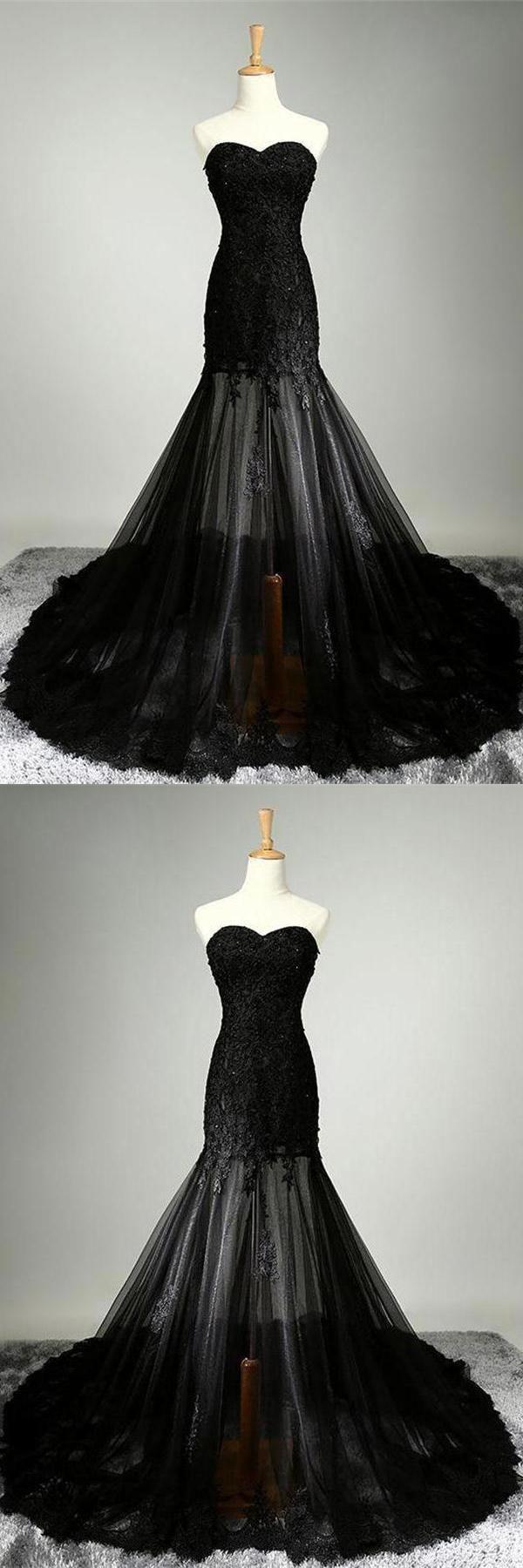 Prom dresses lace black mermaid prom dresses black lace prom