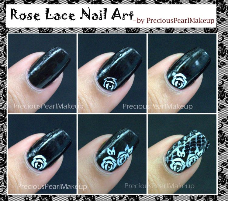 Rose Lace Nail Art Visit Site For In Depth Tutorial With Pearl