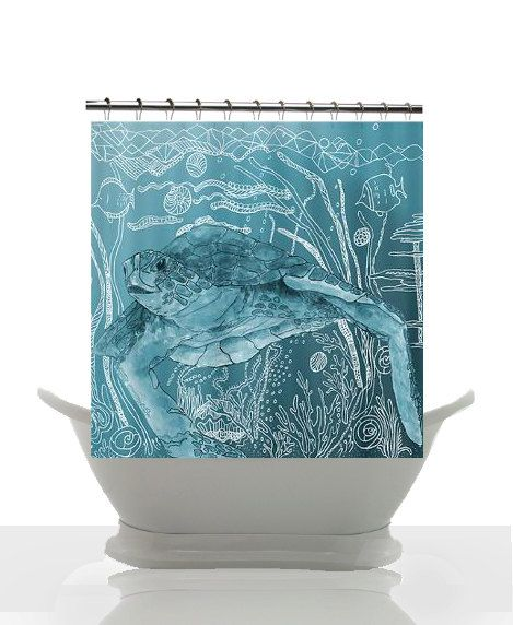 Sea Turtle Shower Curtain Shelley Of The Deep Blue Artisitic Watercolor Surf Beach Surfer Coastal Decor Bathroom