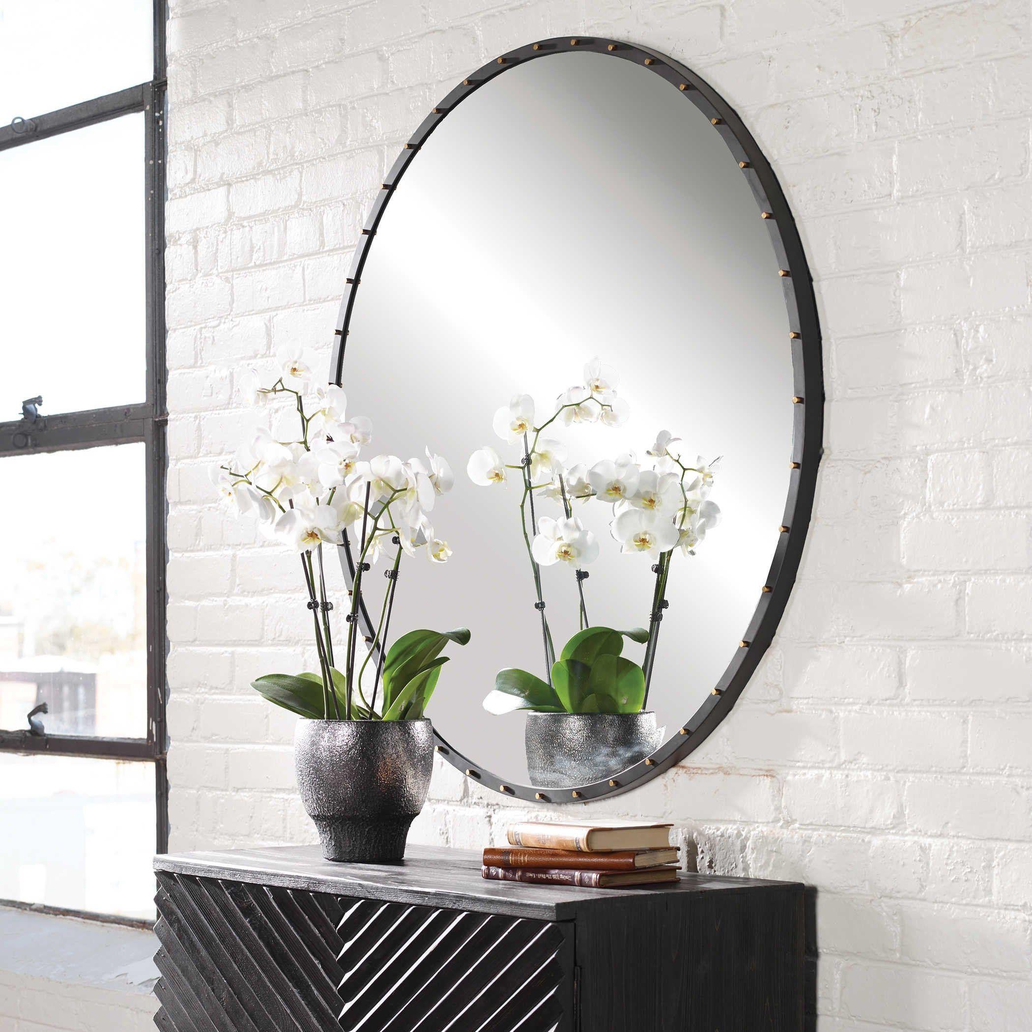 Georgina Round Mirror 84 Cm Round Wall Mirror Framed Mirror Wall Large Circle Mirror