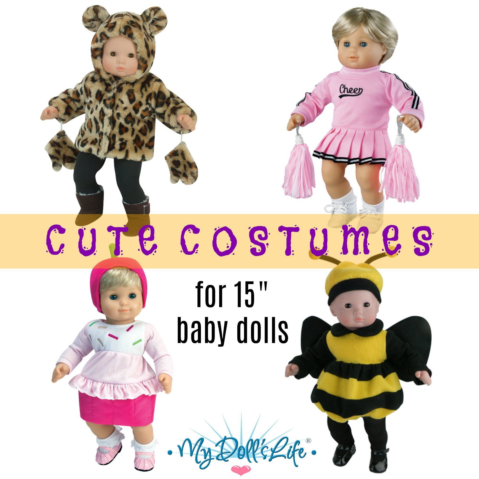 Cute Costumes For 15 Baby Dolls Halloween Or Every Day Play Bittybaby Dolls Babydolls Ha Bitty Baby Clothes Doll Clothes American Girl Baby Doll Clothes