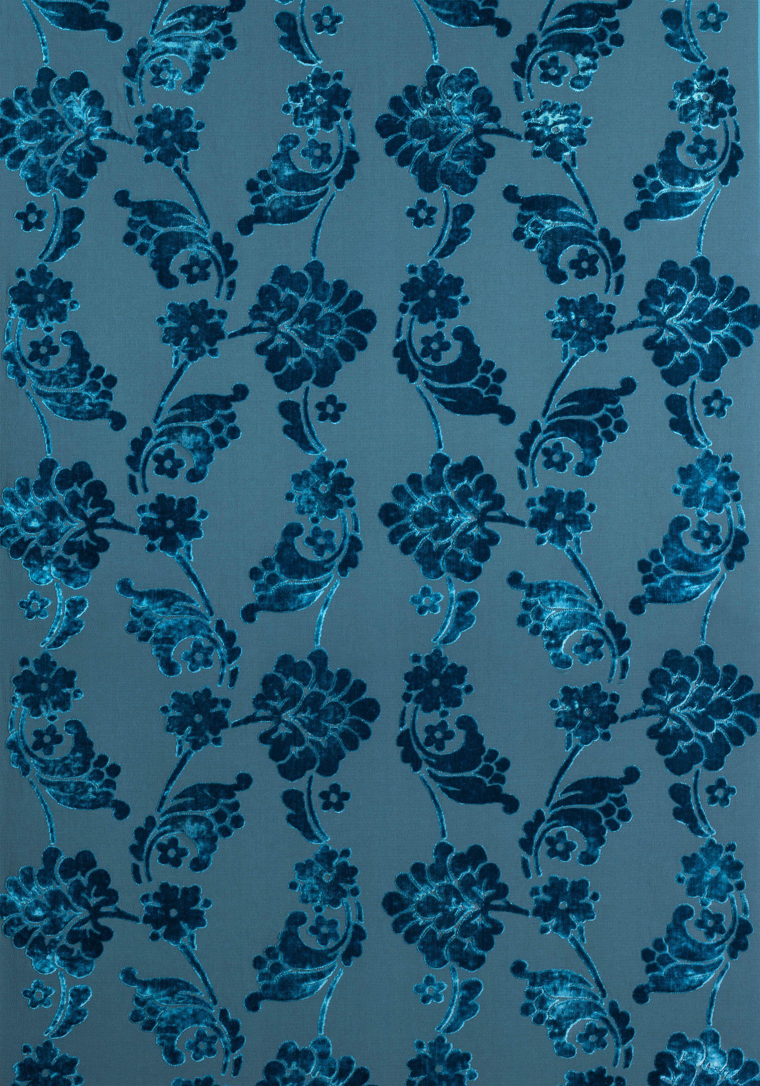 VELVET JACQUARD, Teal, AF10216, Collection Wild Flora from