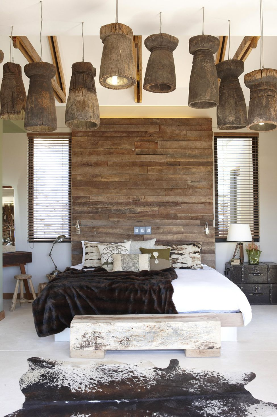 Cool Light Fixtures And Wood Headboard