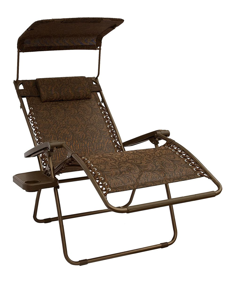 Look at this dark brown canopied gravityfree lounger u pillow on