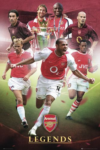 Arsenal FC LEGENDS Soccer Action Poster THIERRY HENRY Bergkamp Ljungberg