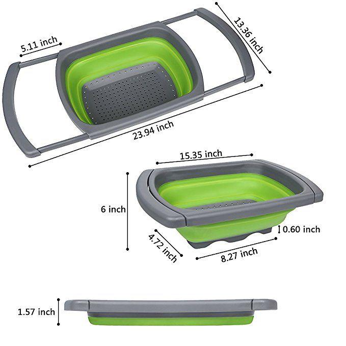 QiMH Over The Sink Vegtable Fruit Colander Strainer Extendable Handle 3.8L Green