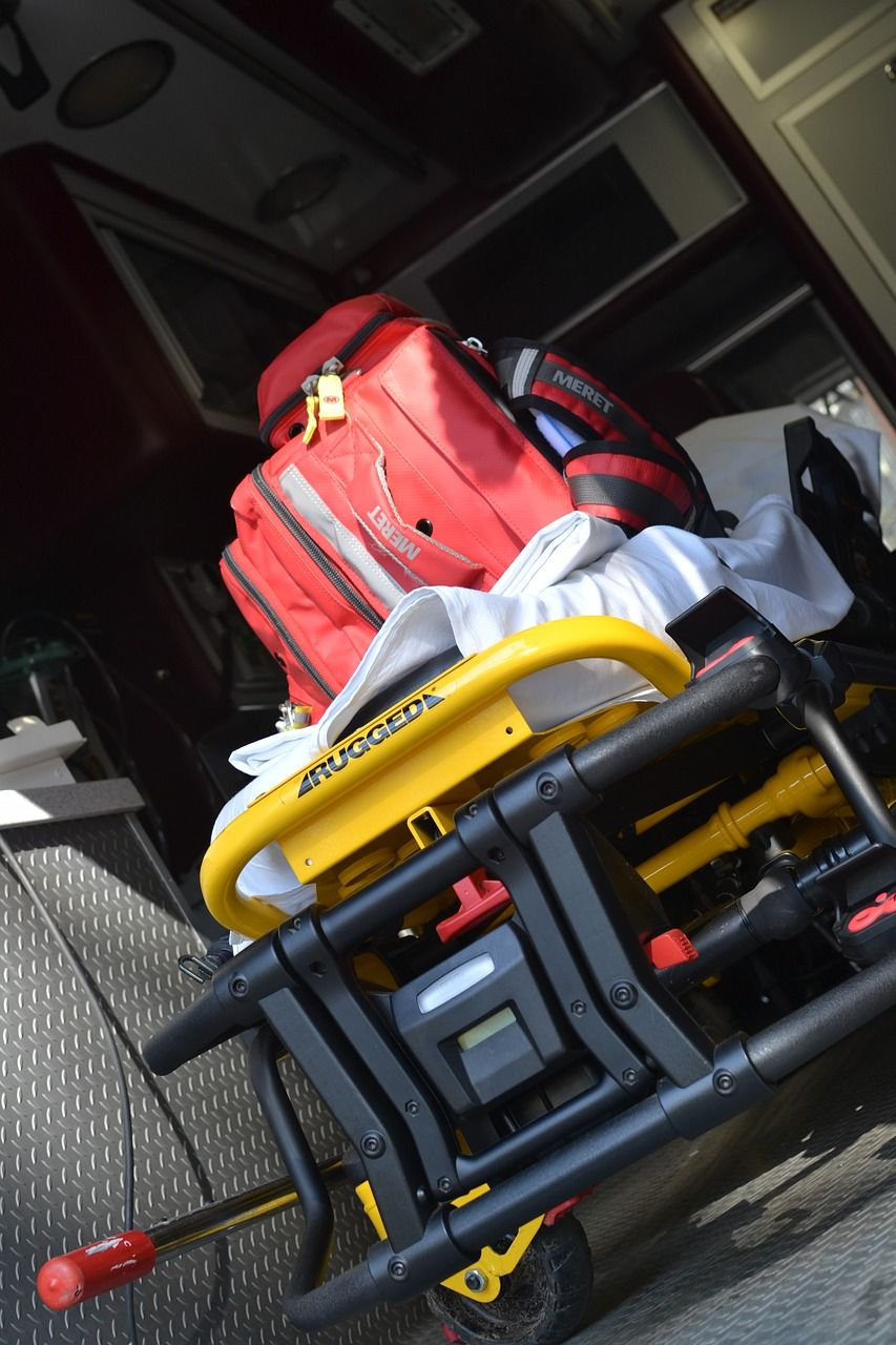 All medical equipment is properly loaded for ambulance
