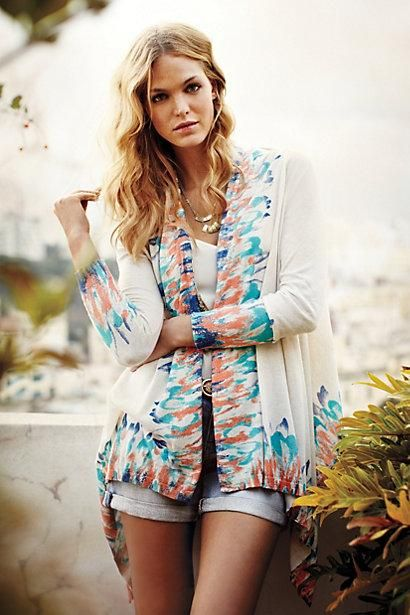 Sapphire Flame Cardigan via #Anthropologie - and love the soft, wavy hair.