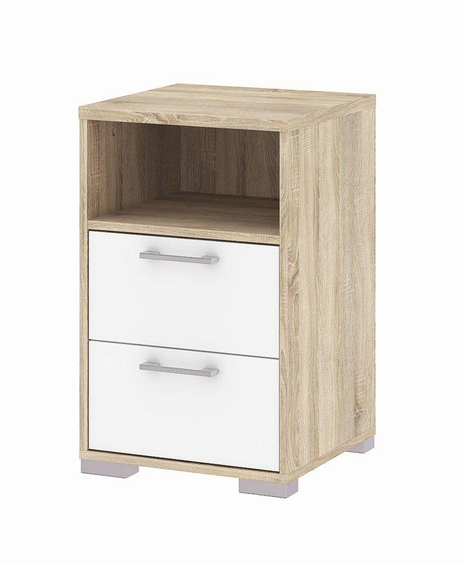 Homeline Sengebord - Natbord i ege struktur med skuffer i hvid højglans og aflange, smalle og grå greb. Natbordet har udover de to praktiske og rummelige skuffer også et hylderum.