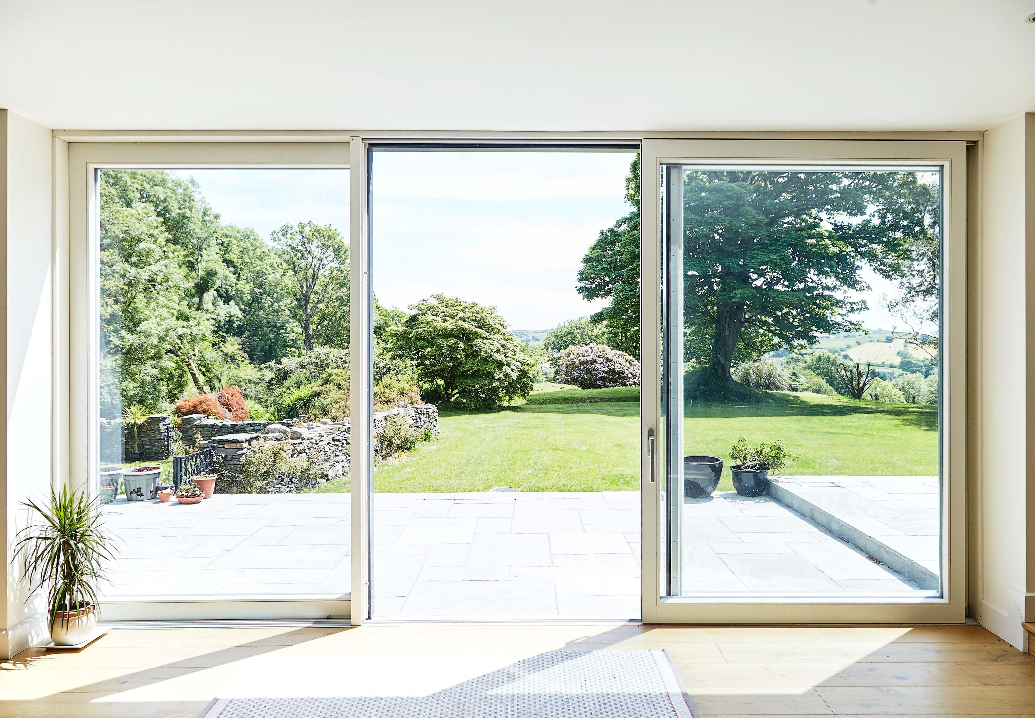 Open 3 Panel Lift Slide Door Aluclad Windows Aluminium Sliding Doors Windows And Doors