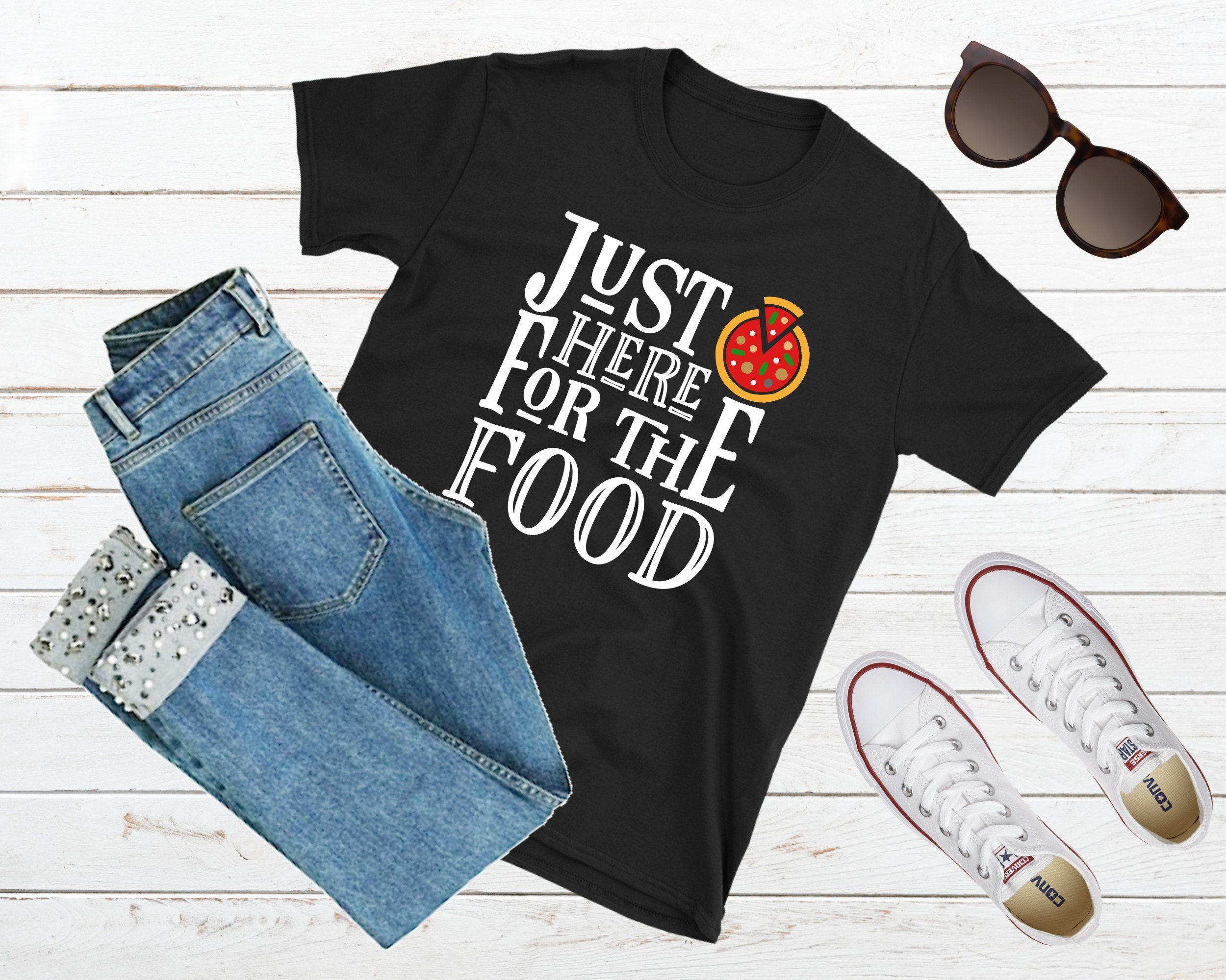 Funny Food Shirt Here For The Food Food Lover Shirt Foodie Gag Gift Party Shirt Holiday Shirt I Love Food Pizza Shirt Family Reunion Mom Shirts Graduation Shirts Hair Stylist Shirts