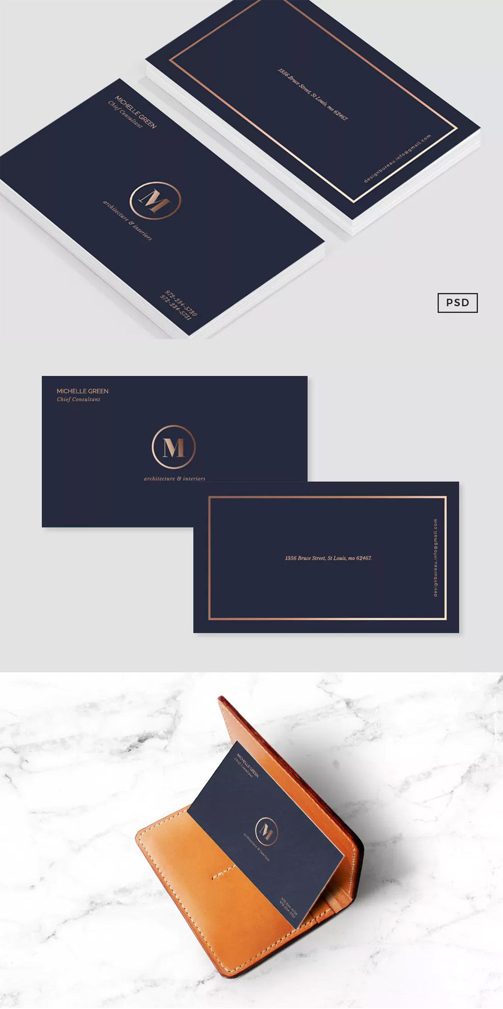 Navy Blue Metallic Business Card By 83oranges On Envato Elements Business Card Graphic Vintage Business Cards Blue Business Card
