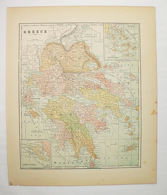 Antique greece map 1896 vintage map of greece greek islands map antique greece map 1896 vintage map of greece greek islands map cyclades greece gift for traveler wanderlust gift man cave art gift gumiabroncs Image collections