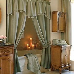 Double Swag Shower Curtains I Like The Style Maybe Not So Much Color Or Fringe But Close
