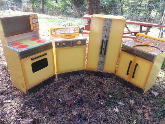 Vintage Mid Century Sears Play Kitchen Fridge Range by PastBack