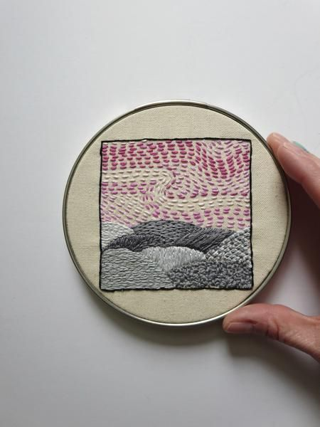 An Embroidered Art Pink And Gray Tranquil Landscape Modern