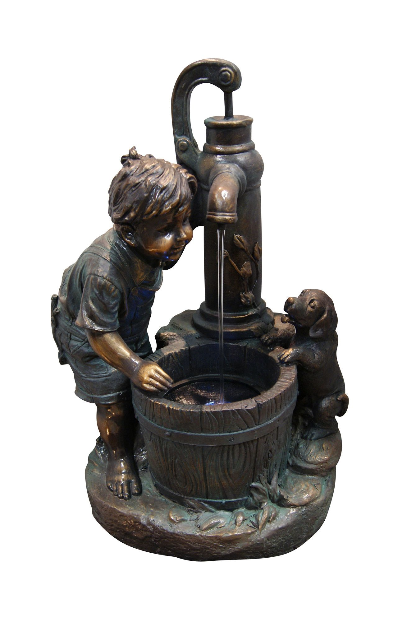 Fiberglass Resin Boy And Water Pump Fountain With LED Light | Wayfair