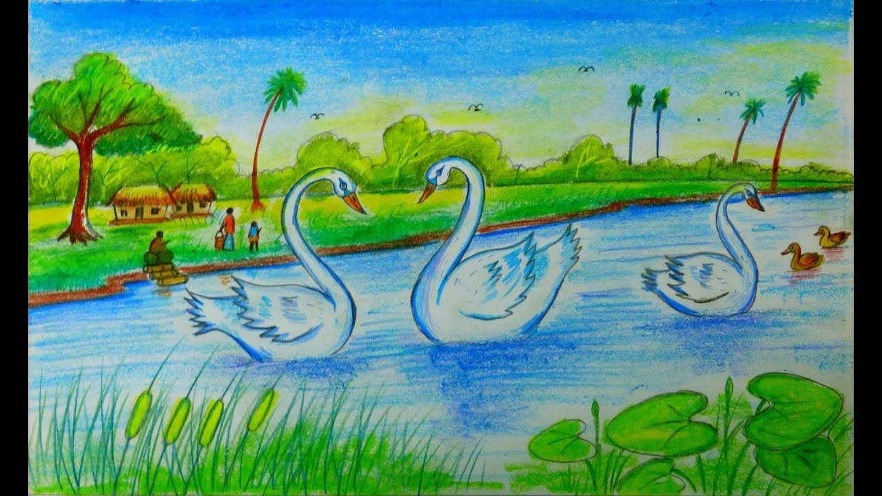 How draw a village scenery with swan by oil pastelcolored pencil