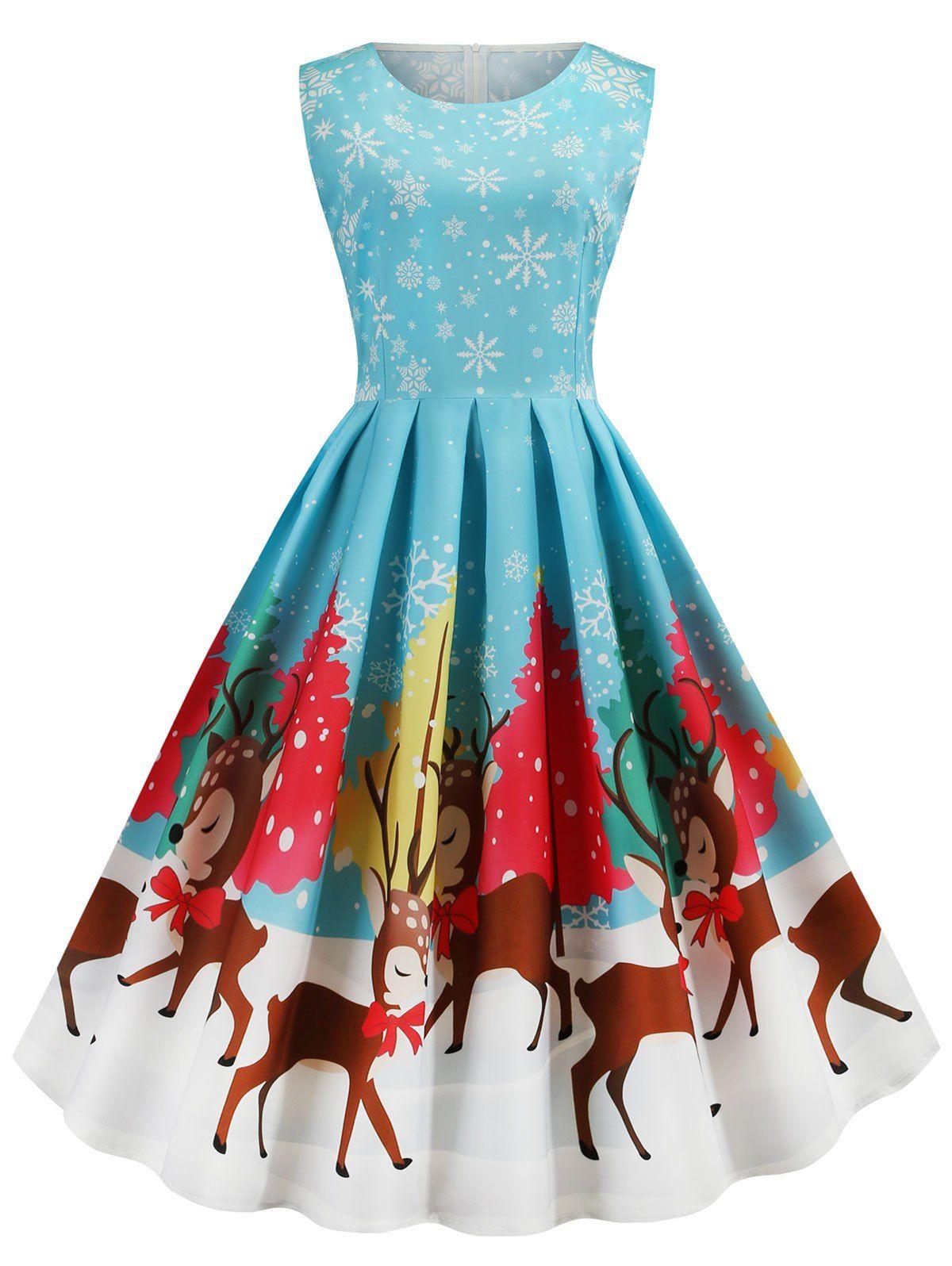 Plus Size Vintage Christmas Print Swing Dress Vintage Dresses Casual Vintage 1950s Dresses Casual Christmas Dresses [ 1596 x 1200 Pixel ]