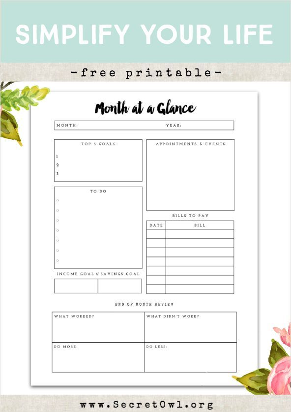 Free Printable  Month At A Glance  Free Printable Owl And Planners