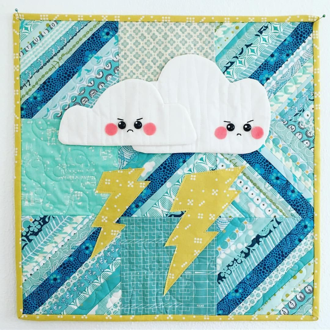 "350 Likes, 32 Comments - Jessica (@euphoria_jessica) on Instagram: ""Oh, these little grumpy faces! 😠🌩😠🌩 Mini made for @the_tattooed_quilter using his cloud templates.…"""