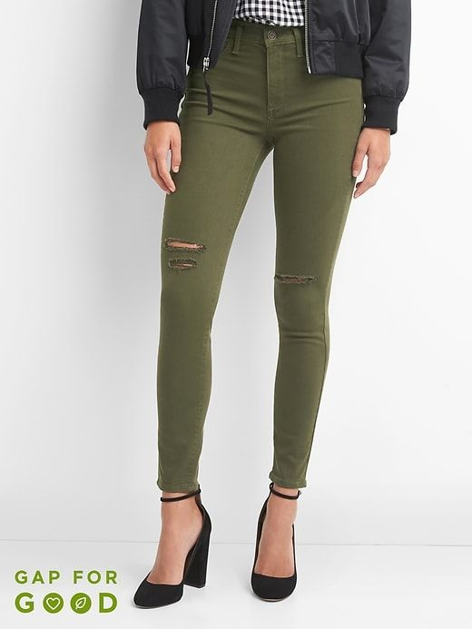 8a4787f7183e9 Gap Womens High Rise Ankle Jeggings Black Moss Size 30 | Products ...