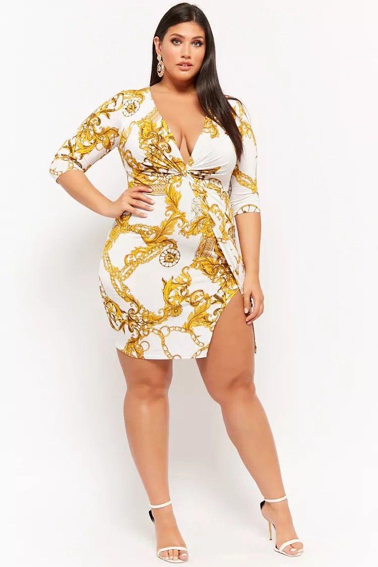 7fcb25ff90 Plus Size Baroque Print Twist-Front Dress