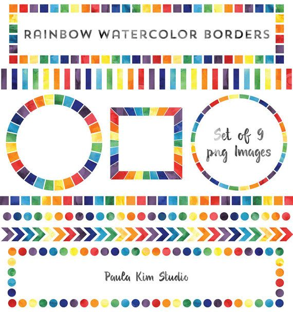 Watercolor Rainbow Borders, Rainbow Frame Clip Art Set, Instant - rainbow page border