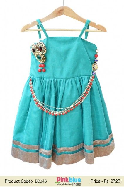 Buy Designer Green Frock with Fashionable Vintage Chain ...