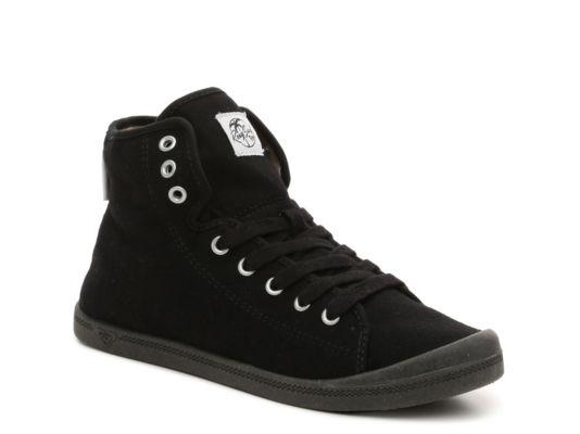 Women's Roxy Rizzo High-Top Sneaker - Black Fabric