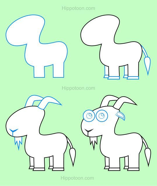 simple drawing lesson on how to draw a goat sketching