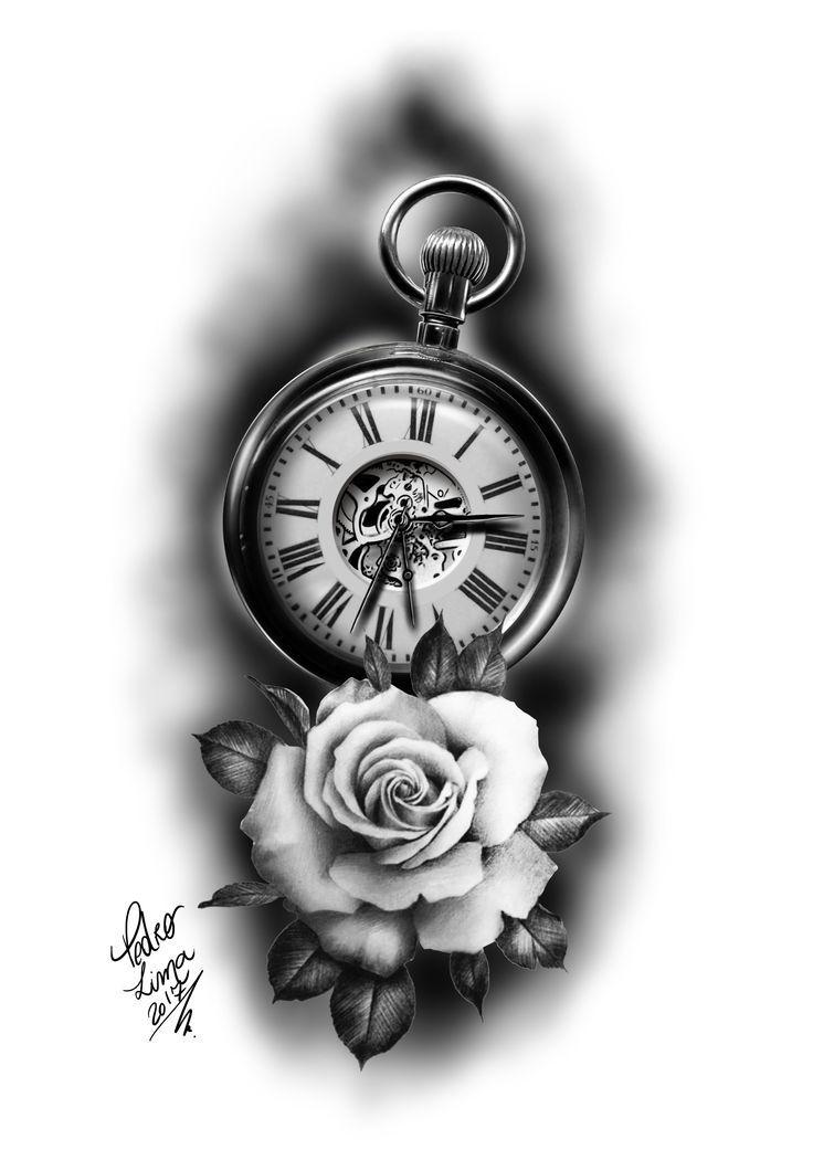 Rose Clock Tattoo Designs Drawing: Diseños De Tatuajes 2019 Tatuajes -