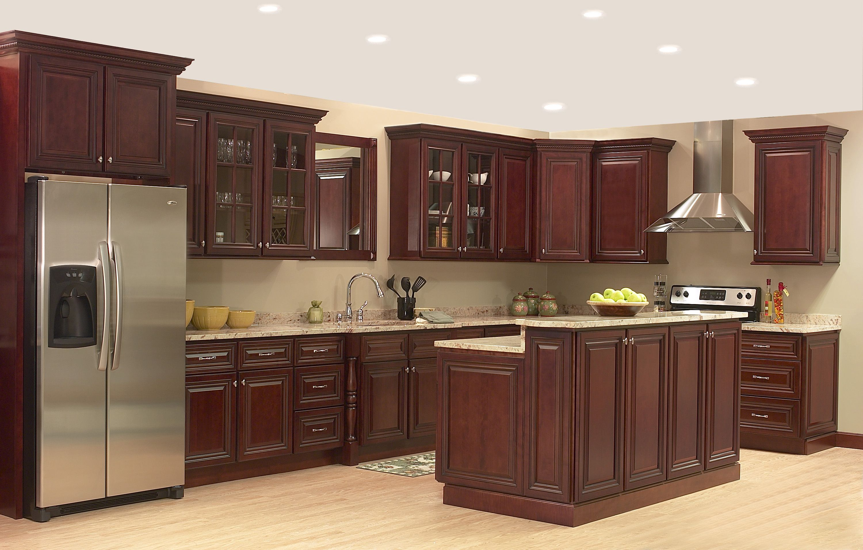 Kitchen Cabinet With Brown Marble Countertops In Beige Kitchen Kitchen Cabinets For Sale Kitchen Cabinets Interior Design Kitchen