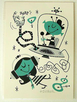 Derek Yaniger Into Orbit Silkscreen Print Signed Retro Art Girl Serigraph   eBay