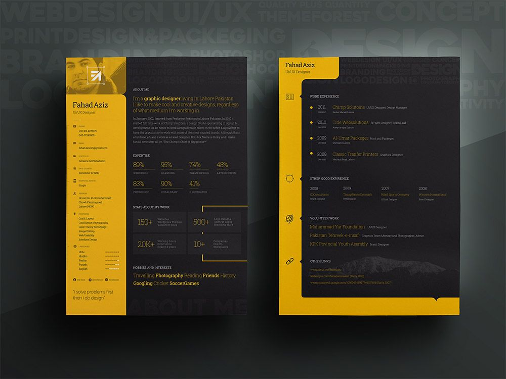 Personal Resume Template Free PSD  Personal Resume Template