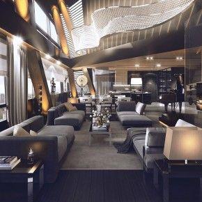 Wonderful Luxury Penthouse Design Idea Features Sofas, Large Windows And Hardwood Flooring