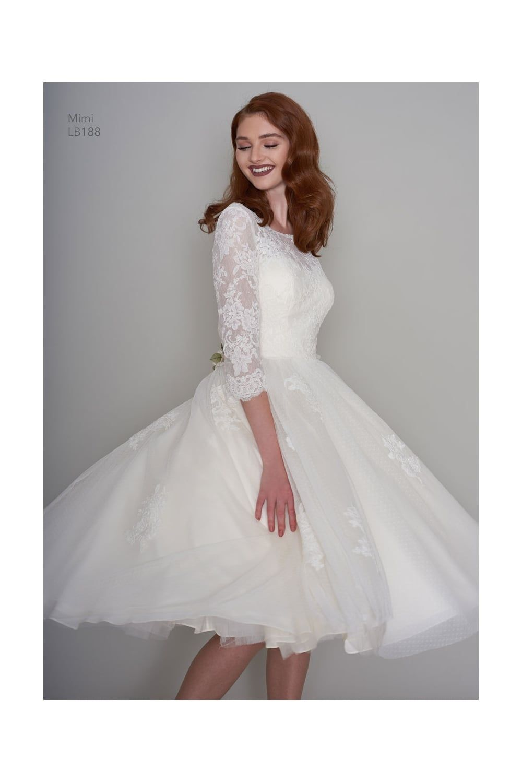 Tea length sleeve wedding dress  MIMI Tea Length Lace s Vintage Short Wedding Dress With Sleeves
