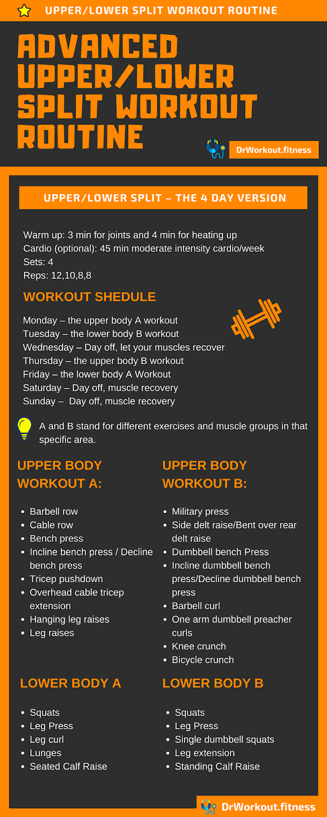 Advanced Upper/Lower Split –  4 Day Full Body Workout Routine  #workout #bodybuilding #gym #fitness...