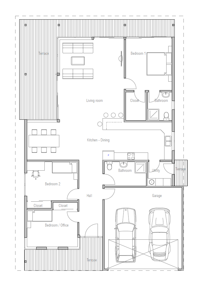 Bedroom Love Minimalist Plans contemporary-home_10_house_plan_ch256 | house love & design