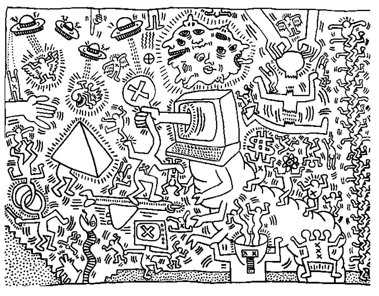 Free coloring page coloring-adult-keith-haring-5. Free Keith ...