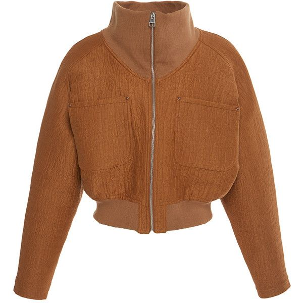 J.W. Anderson Technical Matelasse Crop Jacket (1,510 CAD) ❤ liked on Polyvore featuring outerwear, jackets, zip front jacket, brown jacket, brown cropped jacket, long sleeve crop jacket and long sleeve jacket