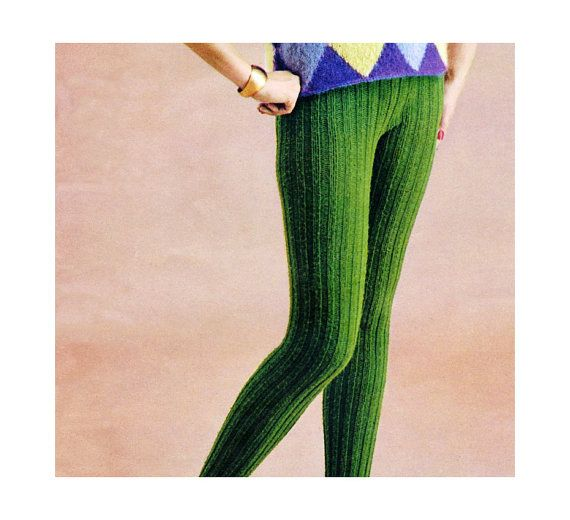 Vintage 1960s Knitting Pattern Ribbed Tights Stockings By