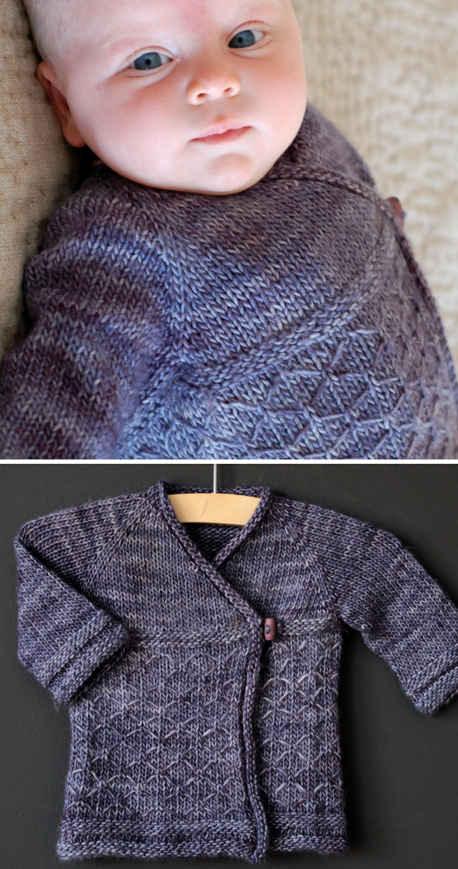 Knitting Pattern for Kyoto Crossover Baby Cardigan - This baby wrap kimono sweater features a lattice stitch.SIZES: 3mo (6mo, 12mo, 18mo, 24mo // 3yo, 4yo, 5yo, 6yo) Available in English and French.