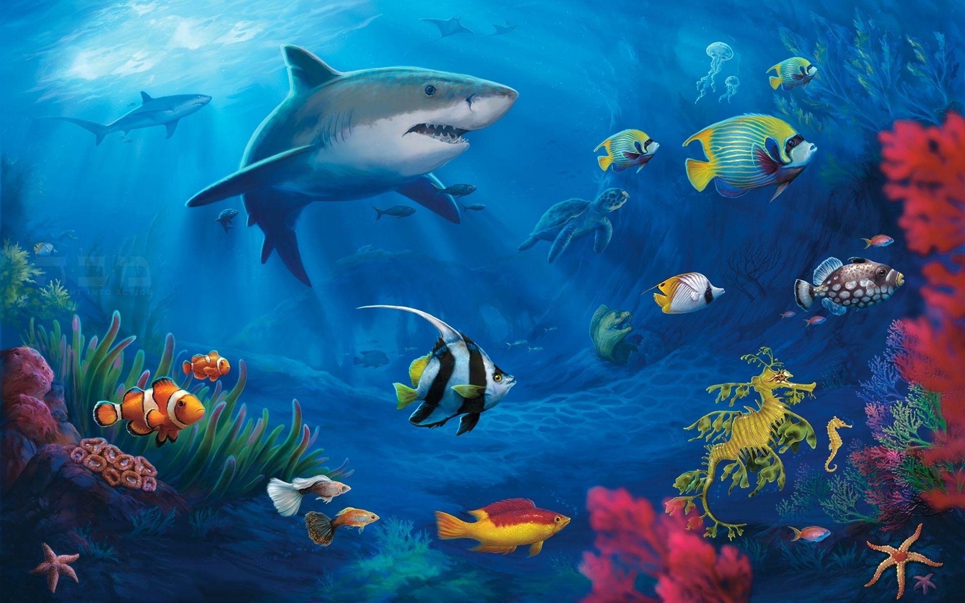 Underwater Sea Life Paintings Ocean Sea Sealife Color Bright Sunlight Plants Reef Coral Fins Art Fish Wallpaper Live Fish Wallpaper Underwater Wallpaper